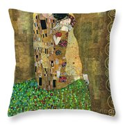 My Acrylic Painting As An Interpretation Of The Famous Artwork Of Gustav Klimt The Kiss - Yakubovich Throw Pillow