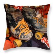 My Battle Scarred Roller Derby Skates  Throw Pillow