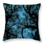 My Blue Dark Forest Throw Pillow