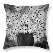My Daisies Black And White Version Throw Pillow