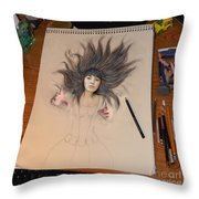 My Drawing Of A Beauty Coming Alive Throw Pillow