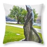 My Favorite View Of Metal Sculpture In Front Of Maryhill Museum Of Art-wa Throw Pillow