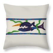 My First Fish Dinner Throw Pillow by Robert Margetts