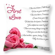 My First Love Poetry Art  Throw Pillow