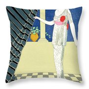 My Guests Have Not Arrived Throw Pillow by Georges Barbier