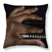 My Afro Blues Harmonica - Double Play Blues Throw Pillow