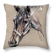 My Horse Portrait Drawing Throw Pillow