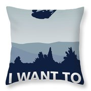 My I Want To Believe Minimal Poster-millennium Falcon Throw Pillow