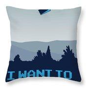 My I Want To Believe Minimal Poster- Tardis Throw Pillow
