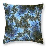 My Maui Fractal Art Abstract Palms And Blue Sky And Waters Throw Pillow