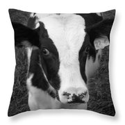 My Name Is Cow - Black And White Throw Pillow