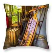 My Old Sled Throw Pillow