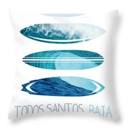 My Surfspots Poster-6-todos-santos-baja Throw Pillow by Chungkong Art