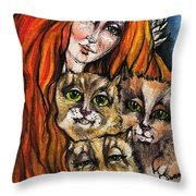 My Three Cats Throw Pillow