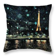 My Van Gogh Eiffel Tower Throw Pillow