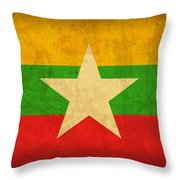 Myanmar Burma Flag Vintage Distressed Finish Throw Pillow