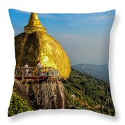 Myanmar's Golden Rock Pagoda Throw Pillow
