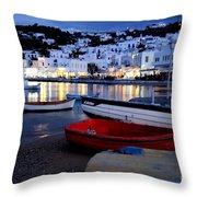 Mykonos Greece Throw Pillow