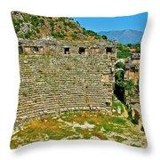 Myra's Roman Theatre In Fourth Century-turkey Throw Pillow