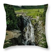 Myrtle Falls In Front Of Mt. Rainier Throw Pillow