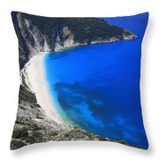 Myrtos Beach Kefalonia Greece  Throw Pillow