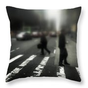 Mysterious Business Men In New York City Crosswalk Throw Pillow by Amy Cicconi