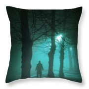 Mysterious Man In A Foggy Forest Throw Pillow