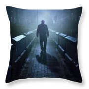 Mysterious Man In Fog At Night Throw Pillow
