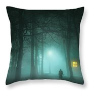Mysterious Man In Fog With House And Window Light Throw Pillow