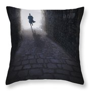 Mysterious Man Running Out Of A Tunnel Throw Pillow