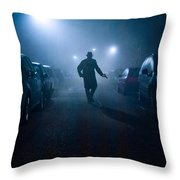 Mysterious Man With Pistol At Night In Fog Throw Pillow