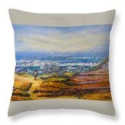 Mysterious Ocean Beach Rocks Throw Pillow