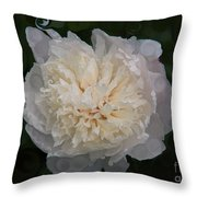 Mysterious White Peony Abstract Painting Throw Pillow