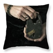 Mysterious Woman With Lock Throw Pillow by Edward Fielding
