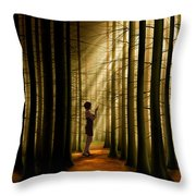 Mysterious Wood Throw Pillow by Bedros Awak