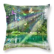 Mystic Foggy Forest Throw Pillow by Alixandra Mullins
