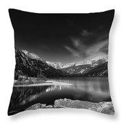 Mystic Lake Pano 2 Bw Throw Pillow
