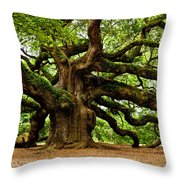 Mystical Angel Oak Tree Throw Pillow