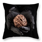 Mystical Hands Holding A Woven Ball Throw Pillow