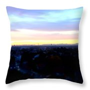 Mystical Munich Skyline With Alps During Sunset II Throw Pillow