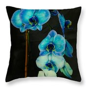 Mystique Blue Orchids Throw Pillow