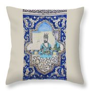Nader Shah Qajar Ceramic Style Persian Art Throw Pillow