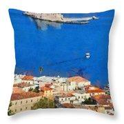 Nafplio And Bourtzi Fortress Throw Pillow