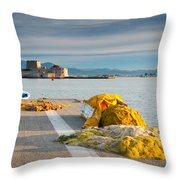 Nafplio Fishing Harbour Throw Pillow