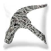 Nails Forming Shape Of Hammer Throw Pillow