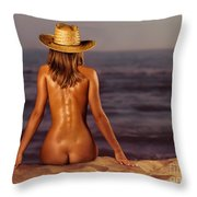 Naked Woman Sitting At The Beach On Sand Throw Pillow