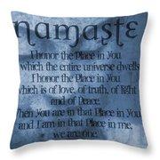 Namaste Blue Throw Pillow
