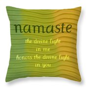 Namaste Throw Pillow by Michelle Calkins