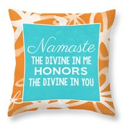 Namaste Watercolor Flowers Throw Pillow