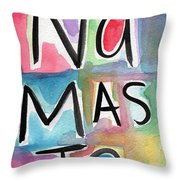 Namaste Watercolor Throw Pillow by Linda Woods